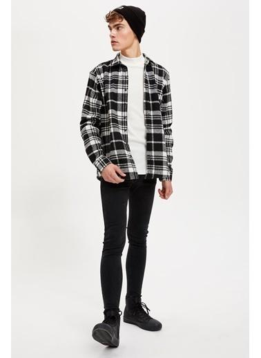 DeFacto Regular Fit Uzun Kollu Oduncu Gömlek Siyah